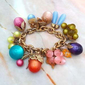 """Napier """"Tropicana"""" Moonglow Fruit Bracelet Vintage"""